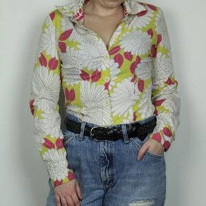 Boden Yellow Floral 60's Button Down Top